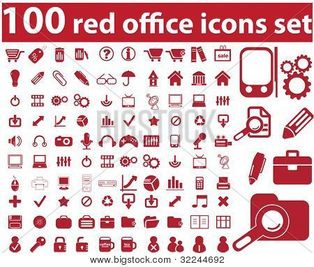 100 red office icons set. raster version.