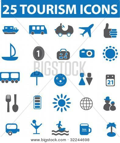 25 tourism icons. blue series. vector. see more in my portfolio.