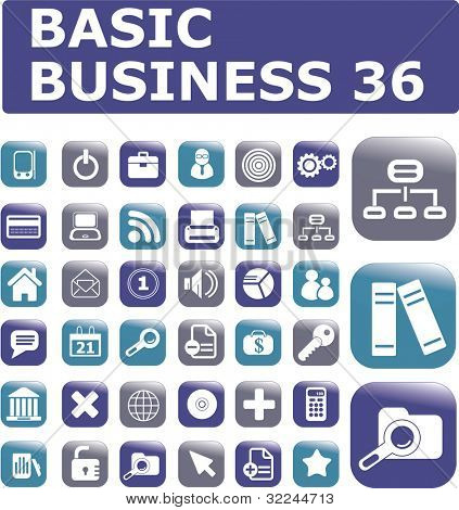 36 business glossy buttons. raster version. vector version you can find in my portfolio