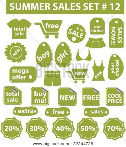 summer sales stickers #12. vector