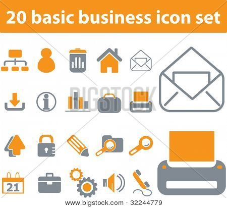 20 basic business icons set. raster version. visit my portfolio for a vector version.