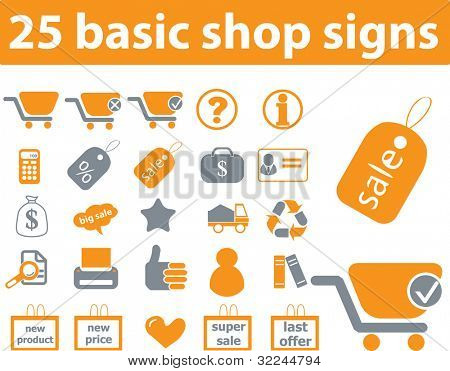 25 basic shop icons. raster version.visit my portfolio for a vector version.