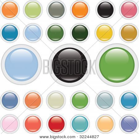 mega set of glossy buttons.vector.