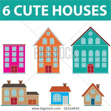 6 cute houses. vector. visit my portfolio for more houses