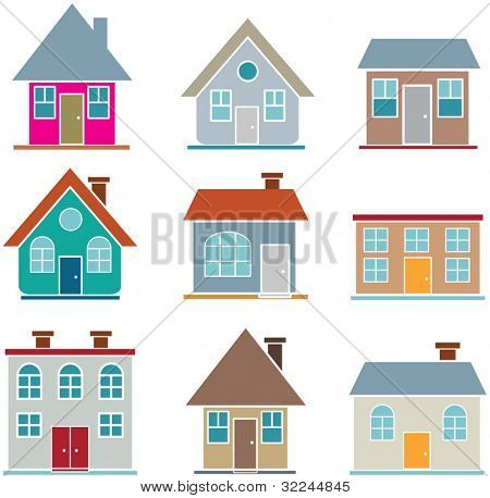 9 cute houses. vector. . visit my portfolio for more houses
