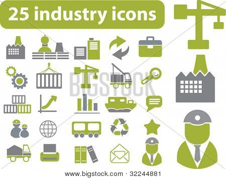 25 industry signs. green series. vector. please, visit my portfolio to find more similar.