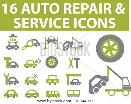 16 auto serivce signs. green series. vector. please, visit my portfolio to find more similar.