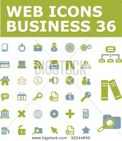 36 web business icons. green series. vector. please, visit my portfolio to find more similar.
