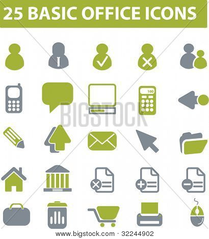 25 basic office icons. green series. vector. please, visit my portfolio to find more similar.