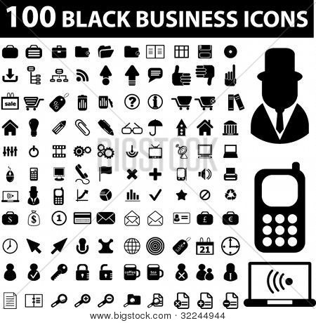 100 black business icons. vector