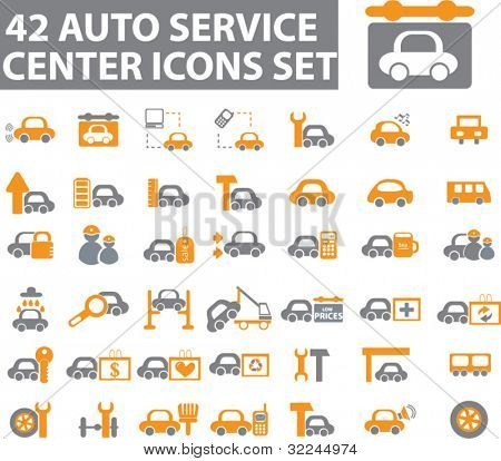 42 auto service center icons set. vector. please, visit my portfolio to find more similar.