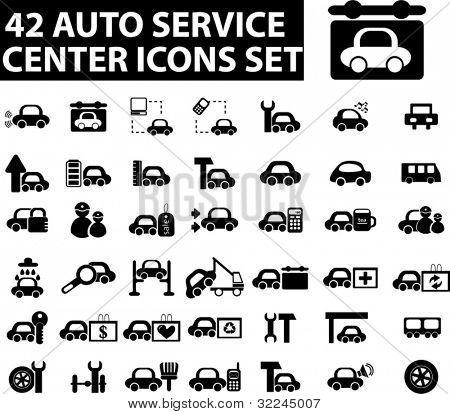 42 auto service center icons set. vector.