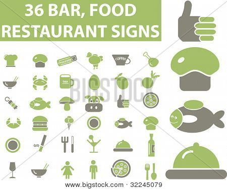 36 restaurant, bar, food signs. vector. please, visit my portfolio to find more similar.