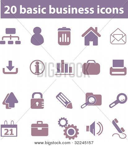 20 business icons. violet series. vector. please, visit my portfolio to find more similar.