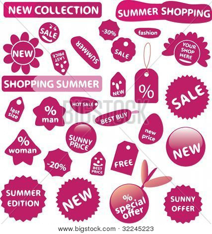 extra large shop stickers set.vector