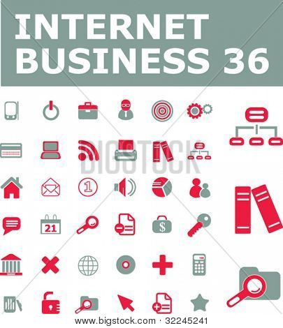 36 web business icons. red-grey series. vector. please, visit my portfolio to find more similar.