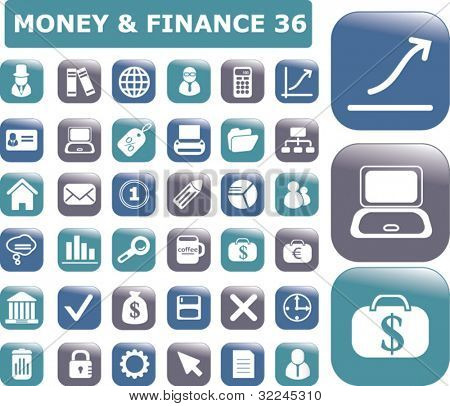 36 glossy finance buttons. vector