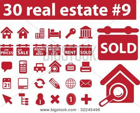 30 real estate icons. red version. vector