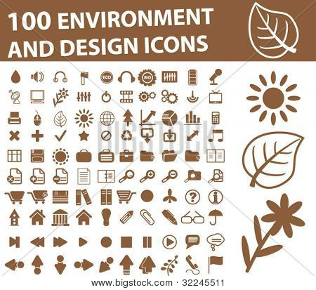 100 environment icons. brown. vector.