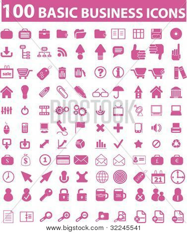 100 pink business icons. please, visit my portfolio to find more similar.