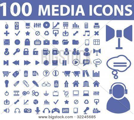 100 media icons. vector