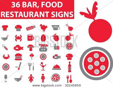 36 restaurant signs. vector