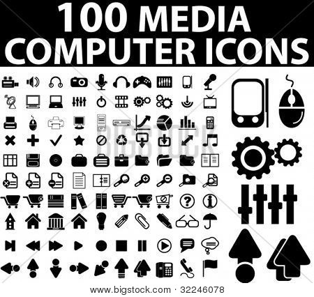 100 media & computer icons. vector