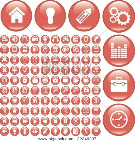 100 basic red glossy buttons. vector