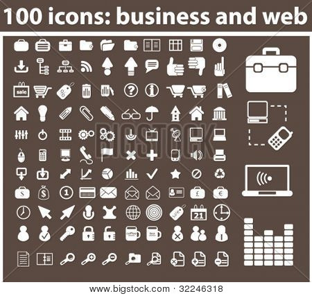 100 Symbole: Business und Web. Vektor