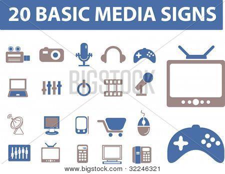 20 basic media signs. vector