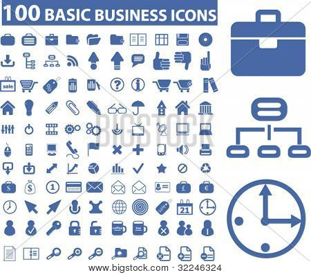 100 basic business icons. vector