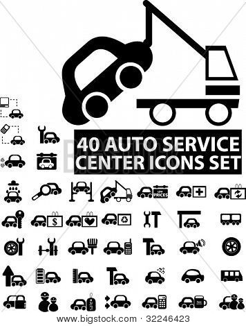 40 auto service center icons. vector