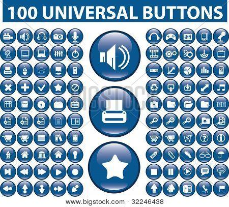 100 universal buttons. vector
