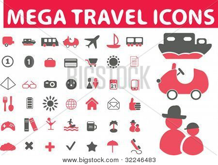 mega travel icons. vector