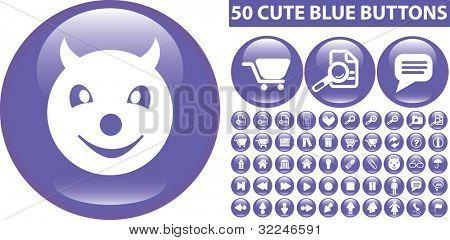 50 cute blue buttons. vector