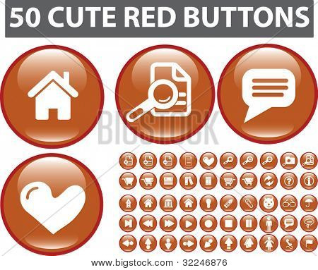 50 cute red buttons. vector