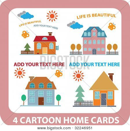 4 cartoon home cards. vector