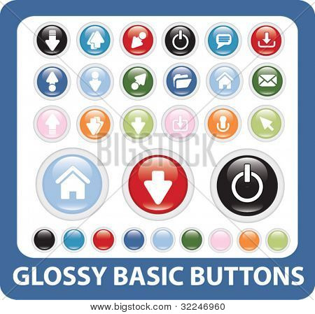 mega glossy basic buttons set. vector