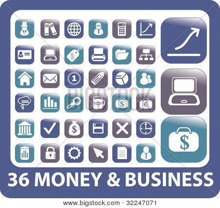 36 botones dinero & negocio. Vector