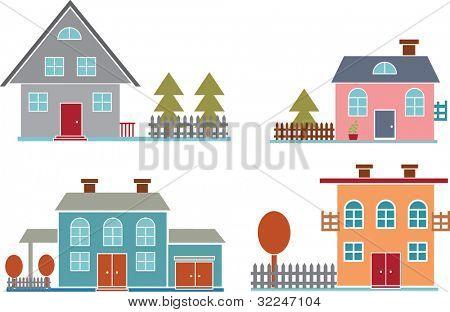4 Einfamilienhäuser. Vektor