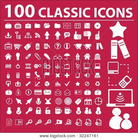 100 classic icons. vector