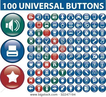 100 universal buttons. vector