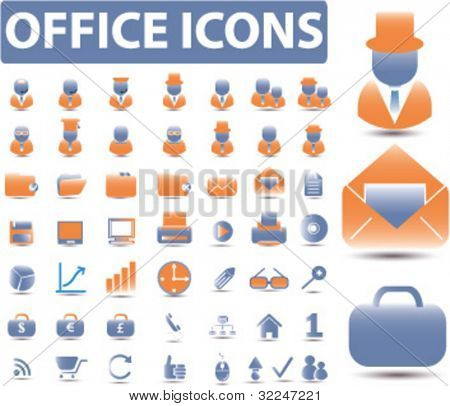 glossy office icons. vector