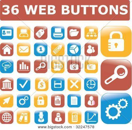 36 botones de web. Vector
