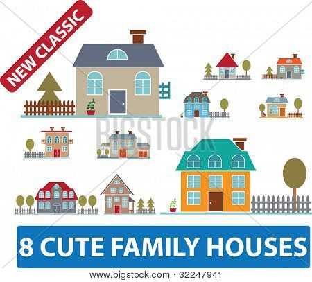 8 cute family houses. vector