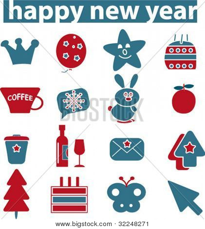 happy new year signs. vector