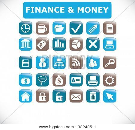 botões de Finanças & dinheiro. vector