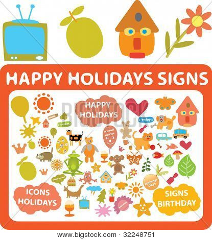 cute holidays signs. vector