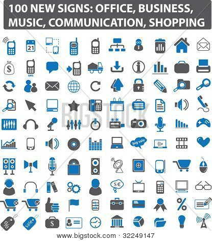 100 new signs: office, business, music, communication, shopping. vector