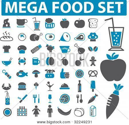 mega food set - 50 signs. vector